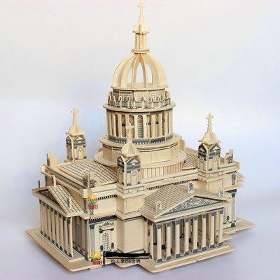 木質3d立體拼圖玩具成人新款模型拼裝高難度積木頭組新裝古建筑大型城堡MI1585PO-06