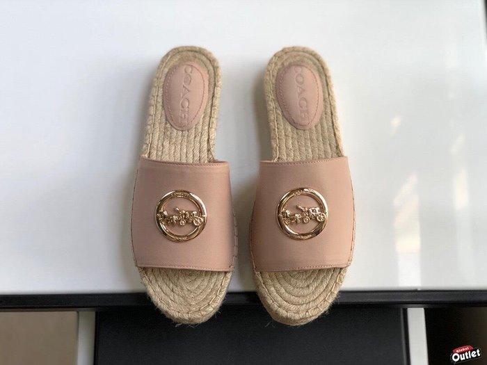 【全球購.COM】COACH 寇馳 2020新款 粉色拖鞋 五金屬馬車LOGO 休閒鞋 時尚精品 美國連線代購