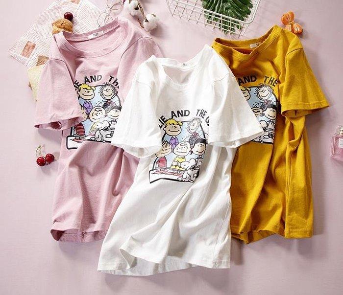 紫滕戀推出史努比系列夏季純棉白色t恤女學生寬鬆韓版卡通短袖女2019新款   共三色