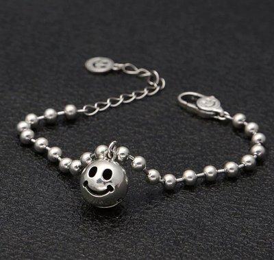 嗨,寶貝銀飾珠寶* 925純銀☆泰國項鍊 時尚飾品 經典潮流 個性 可愛立體笑臉圓球鈴鐺(有清脆聲響)純銀手鍊 情人節禮物