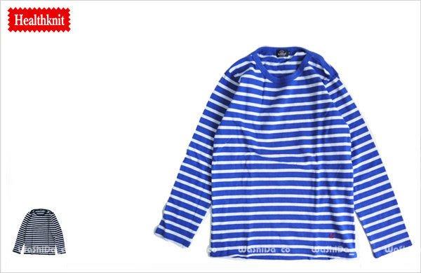 WaShiDa【7600】11-23 Healthknit 美國品牌 男裝 純棉 條紋 長袖 T恤 現貨 SALE