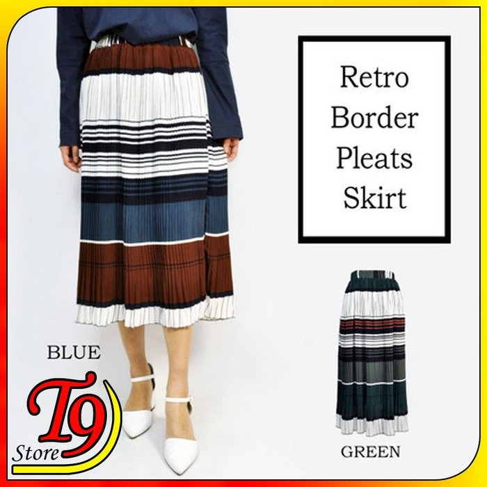 【T9store】日本進口 復古邊框百褶裙
