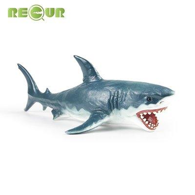溜溜RECUR軟膠仿真大白鯊魚 海洋世界生物海龜鯨魚小動物模型玩具男孩