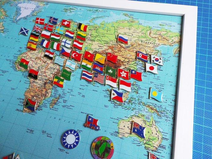 【國旗徽章達人】世界地圖國旗胸章組合/徽章/胸針/別針/勛章/獎章