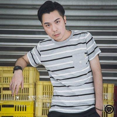 (MARVELOUS)SQUAD Wide stripes Casual T-Shirt 寬條紋口袋休閒T 黑白/黃綠