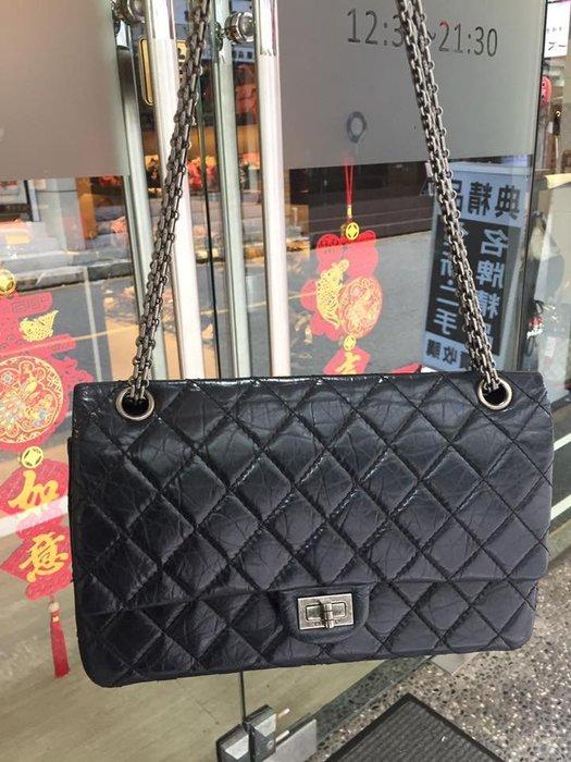 典精品 Chanel  A37587 黑色 菱格 霧銀鍊 復刻 2.55 COCO 28cm 肩背包 側背包 現貨