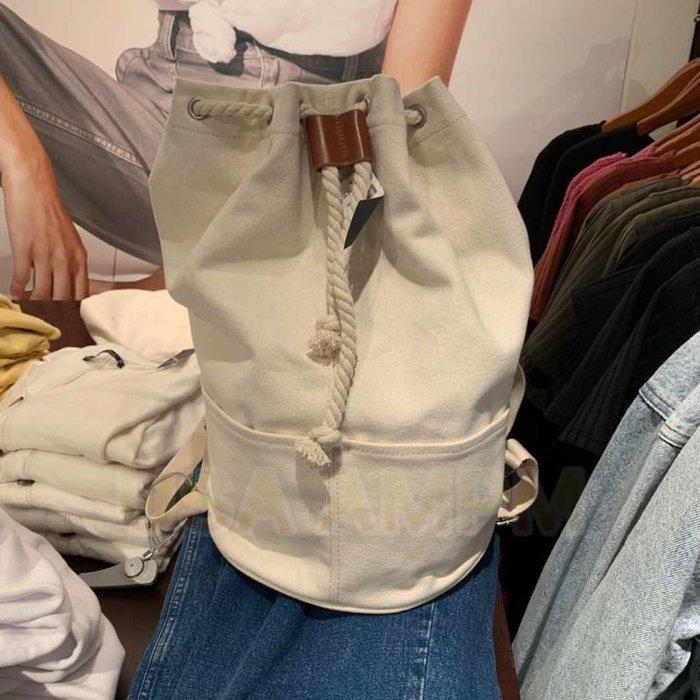 美國AMPM Abercrombie Fitch 小鹿 AF 女19新款CANVAS BACKPA帆布水桶包 雙肩後背包