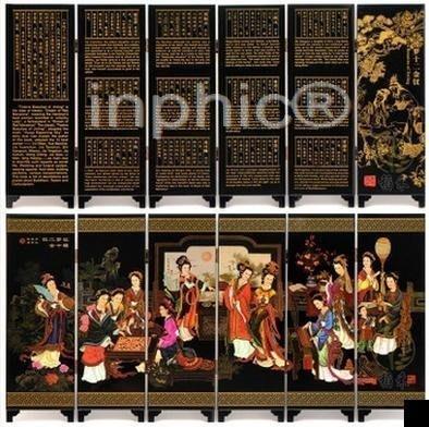 INPHIC-漆器小屏風家居裝飾擺飾 特色公關精緻 紅樓夢12金釵