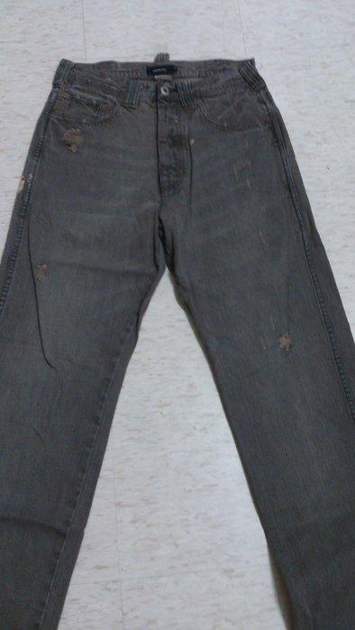 日本 UNLIMITED 牛仔褲 漆 破壞