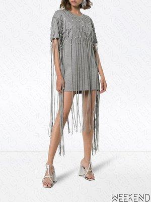 【WEEKEND】 AREA 水晶 流蘇 短袖 T恤 短洋 短裙 灰色