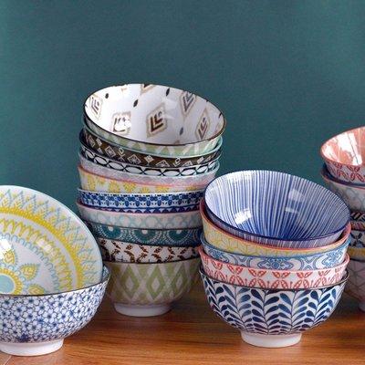 聚吉小屋 #熱賣#日式米飯碗釉下彩陶瓷4.7英寸家用飯碗美食拍照碗古樸復古餐具碗(價格不同 請諮詢後再下標)