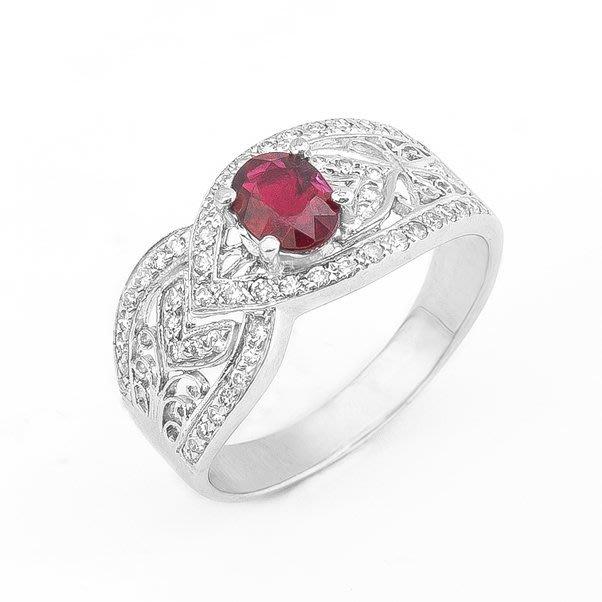 【JHT 金宏總珠寶/GIA鑽石專賣】1.01ct天然紅寶鑽戒/材質:18K(R00022)
