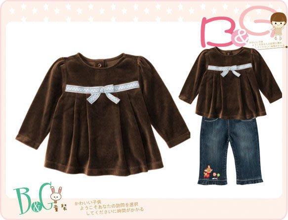 【B& G童裝】正品美國進口GYMBOREE胸前裝飾緞帶蝴蝶結咖啡色長袖細絨上衣2yrs