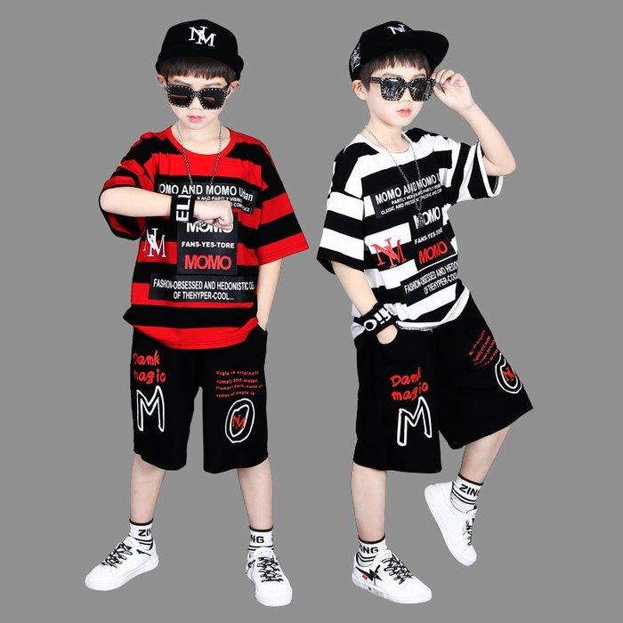 •*~ 辣媽咪衣飾小舖 ~*•❤童裝系列📣K360210韓版大童夏款酷炫帥氣潮個性短袖上衣+短褲套裝