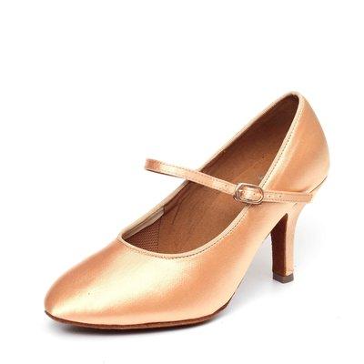 """Afa安法國標舞鞋/拉丁舞鞋 原價$2,800~~女摩登圓頭 淺膚緞30604 鞋跟1.8"""" 2.3"""" 2.5"""" 3"""""""