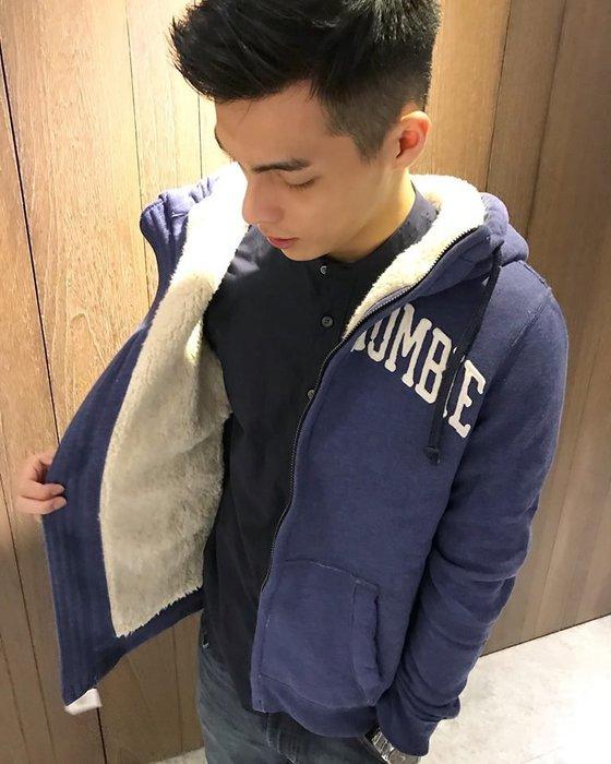 美國百分百【Abercrombie & Fitch】外套 AF 連帽 夾克 麋鹿 刷厚毛 絨毛 藍色 大尺碼 G210