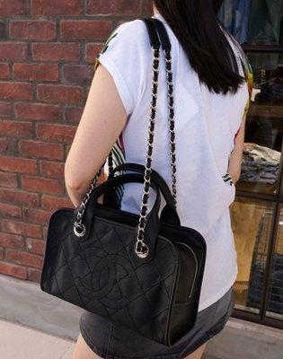 Chanel 香奈兒包 A92757 Caviar Bowling Bag 小型荔枝紋鍊帶肩背包 黑 台北市