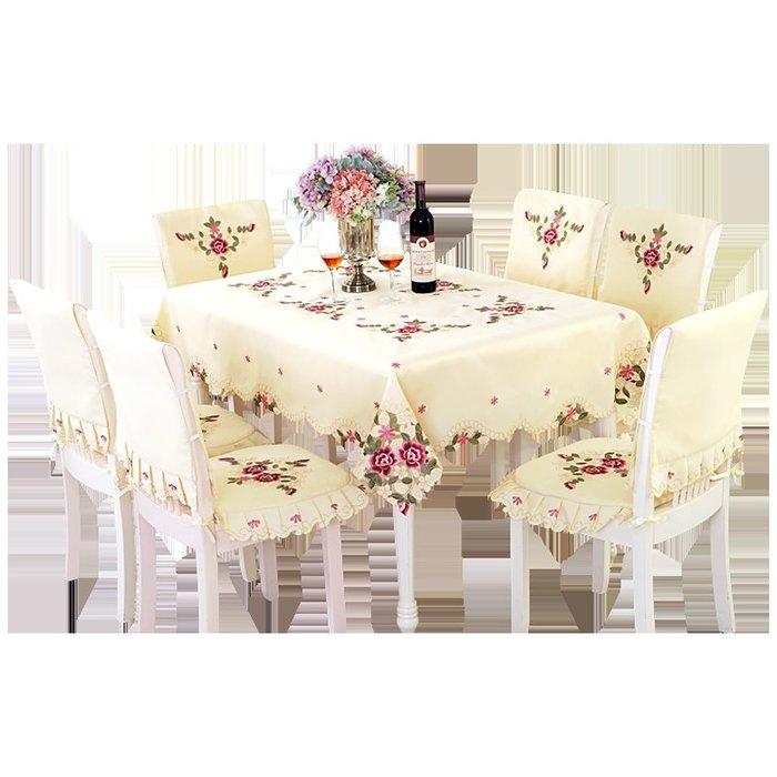 創意 居家 裝飾一朵 布藝歐式繡花餐桌布臺布茶幾桌墊 桌布椅套  椅子套椅墊套裝