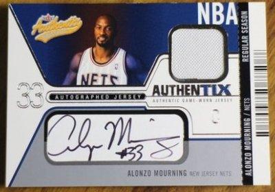 晨星Alonzo Mourning簽名球衣卡(限量100張)