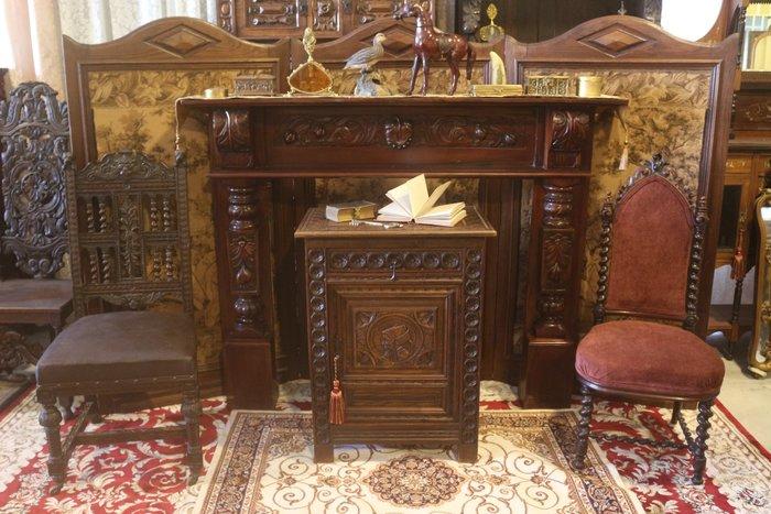 【家與收藏】特價極品稀有珍藏歐洲古董法國華麗宮廷手工木雕花大壁爐框
