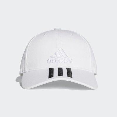 ADIDAS LOGO 白色 硬挺 棒球帽 運動帽 三線老帽 刺繡 可調式 運動 休閒 熱賣 BK0806 YTS