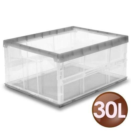 WallyFun 屋麗坊 【30公升】果凍折疊收納箱-【鐵灰銀 / 繽紛紫】任選