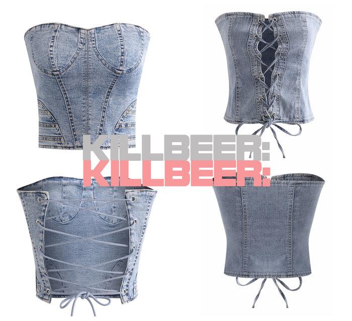 KillBeer:妞兒請妳別太帥之 歐美復古搖滾騎士風性感露背綁帶交叉石洗雪花牛仔平口背心上衣小可愛A072409