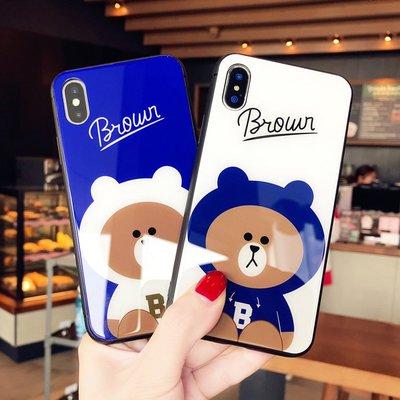手機殼 蘋果X卡通玻璃小熊iphone7手機殼可愛情侶8plus潮牌6s抖音新款女