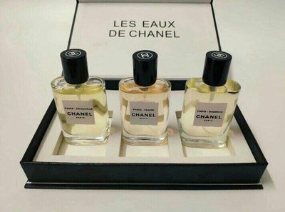 CHANEL Les Eaux香奈兒淡香水系列/杜維埃/威尼斯/比亞里茲/限量版(30ml*3)套裝禮盒Chanel禮袋