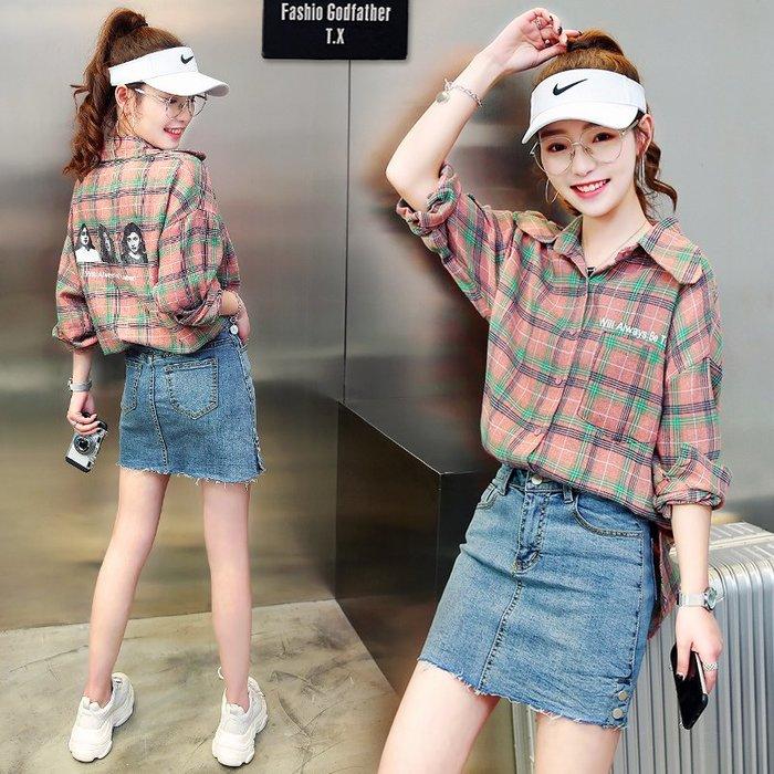 Fashion*格子襯衫 寬鬆韓版春裝新款長袖上衣 設計感小眾歐貨襯衣復古