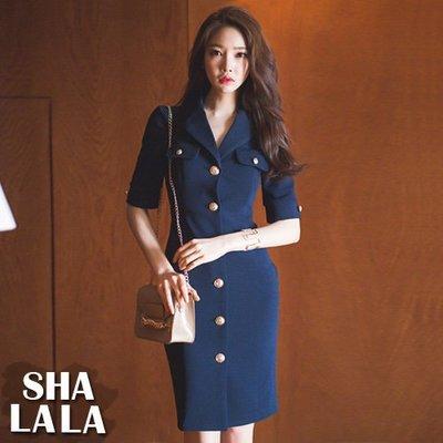 SHA LA LA 莎菈菈 韓版氣質OL西裝領單排釦修身顯瘦五分袖連衣裙洋裝(S~L)2019031612預購款