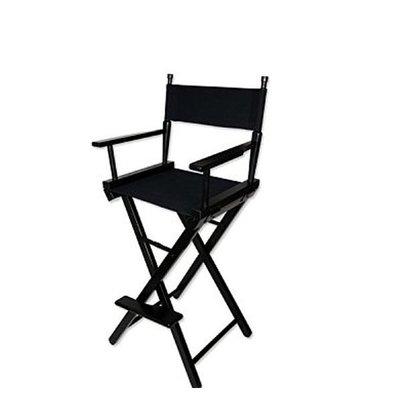 5Cgo【鴿樓】會員有優惠  10096266712 進口實木黑色原色高檔化妝椅導演椅折疊便攜式戶外椅 凳子椅子-高腳款