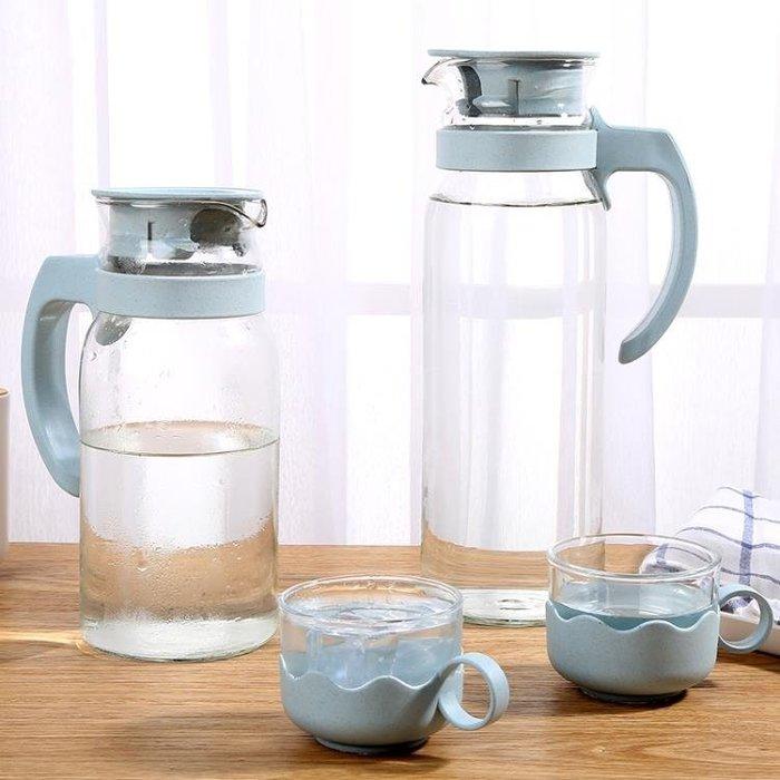 歐式玻璃冷水壺涼水壺1400Ml大容量耐熱防爆晾水壺杯套裝 JA3060