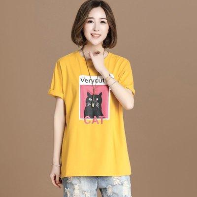 小傾心文藝館~2018夏季新款女裝貓咪短袖圓領T恤 休閑寬松套頭上衣