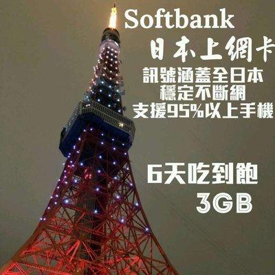 日本上網卡SoftBank六天吃到飽4G/3G 日本上網 日本網卡 日本sim卡 日本網路卡