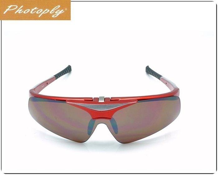 【露西小舖】Photoply可掀式大聯盟太陽眼鏡(紅鏡框+CD12抗藍光鏡片)MLB眼鏡抗疲勞眼鏡適合電腦遊戲玩家