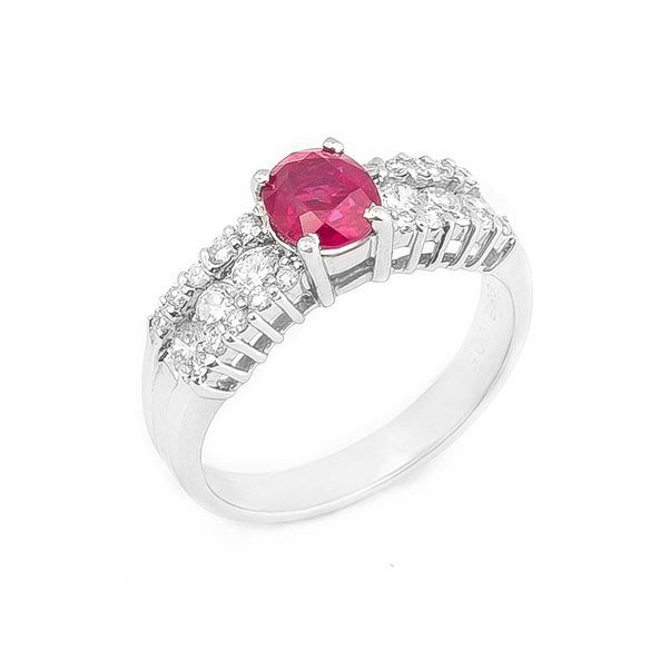 【JHT 金宏總珠寶/GIA鑽石專賣】0.88ct天然紅寶鑽石戒指/材質:PT900(JB19-B03)