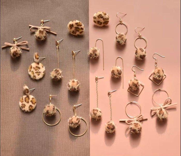 diy耳環材料包 緞帶 流蘇 自製耳釘耳飾品耳墜配件 10對款 豹紋款 豹紋 兩套材料包贈分類盒 20