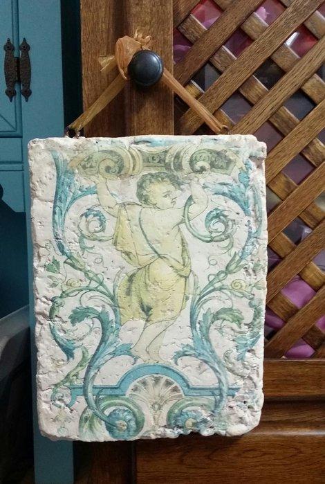 美生活館---全新鄉村生活雜貨--天使 仿岩石做舊  壁飾/掛畫