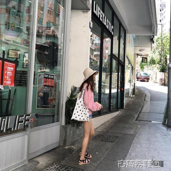 夏韓版新款簡約斜挎單肩波點帆布包女