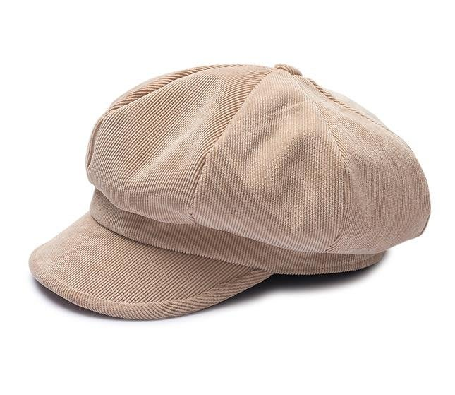 春季Chic燈芯絨時尚蓓蕾帽子女韓版日系百搭軟妹英倫八角貝雷帽