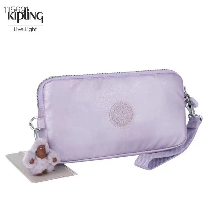 Kipling 猴子包 金屬紫 K70109 拉鍊手掛包 零錢包 長夾 手拿包 鈔票/零錢/卡包 輕便多夾層 防水 限量