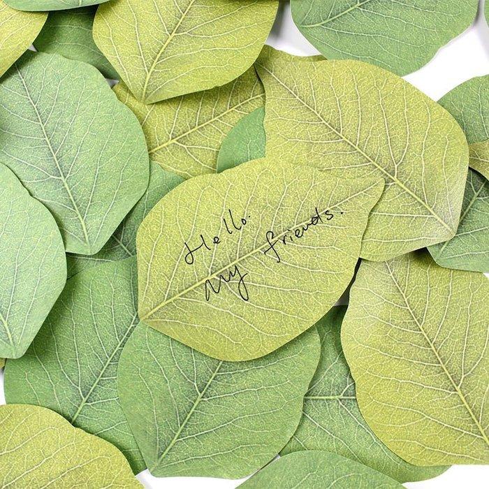 快樂的小天使-- 樹葉裝飾創意清新綠葉便簽紙便利貼便簽條留言便條N次貼--滿200元起發貨