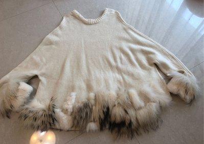(二手近全新)百貨日系精品專櫃品牌 Grace Continental 米白色皮草毛衣