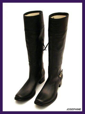 喬瑟芬【MIU MIU】黑色小牛皮革鐵釦環馬蹄跟騎士靴~全新真品!特價$23,000含運