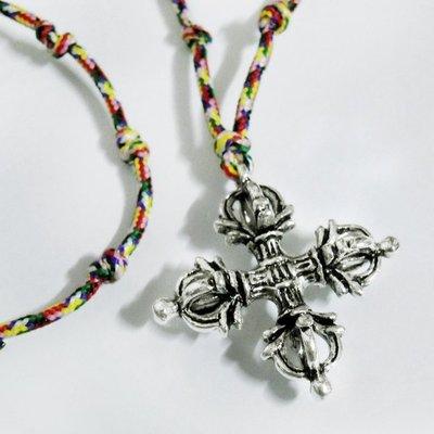 《賴嬤嬤》藏傳佛教法器- 十字金剛杵+大悲咒21結鍊七色線/五色線 項鍊,淨化祈福過,擋煞保平安