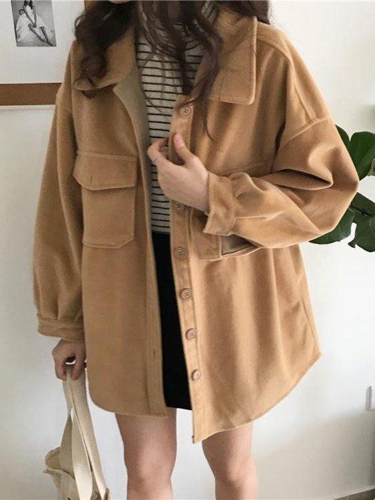 短外套 學院風復古冬季韓版寬鬆呢子大衣春秋女裝百搭學生外套潮