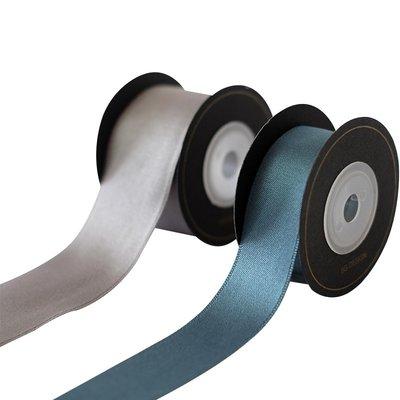 孔雀藍銀灰色亮光絲帶韓國質感滌棉緞禮品包裝節日織帶藍綠新年