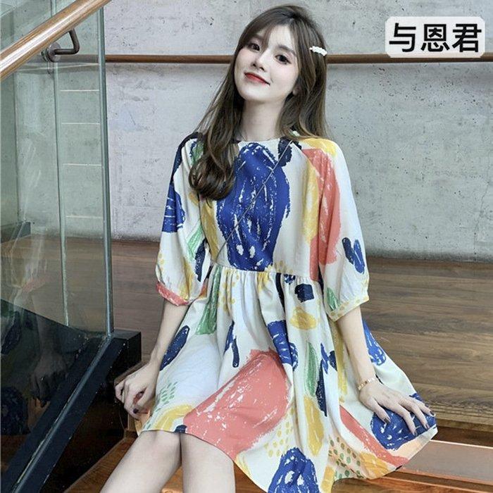 【與恩君9350】韓版個性涂鴉彩色印花連衣裙女高腰顯瘦闊腿短褲夏