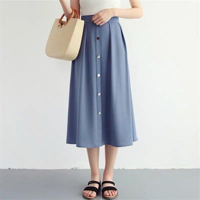 韓版單排釦傘裙A字裙半身裙長裙